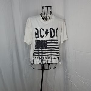 AC DC distressed cropped tee shirt